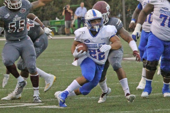 Former Ravenwood star Seth Rowland (22) provided one of the few sparks for Tennessee State's offense Saturday when he rushed for 71 yards on eight carries in a 42-16 loss at Eastern Kentucky.