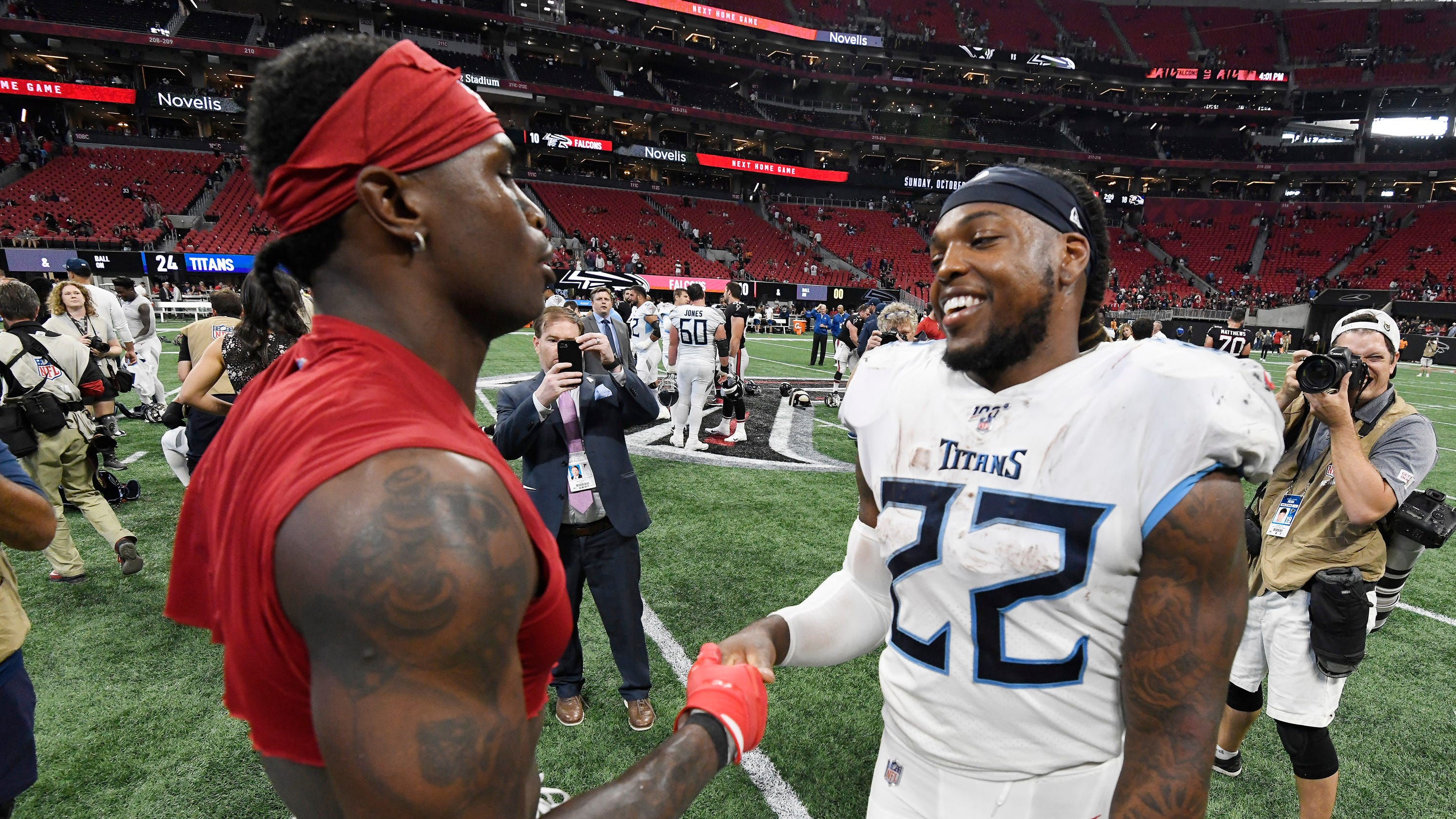 Where does Tennessee Titans' trio of Derrick Henry, A.J. Brown, Julio Jones rank among NFL's best?
