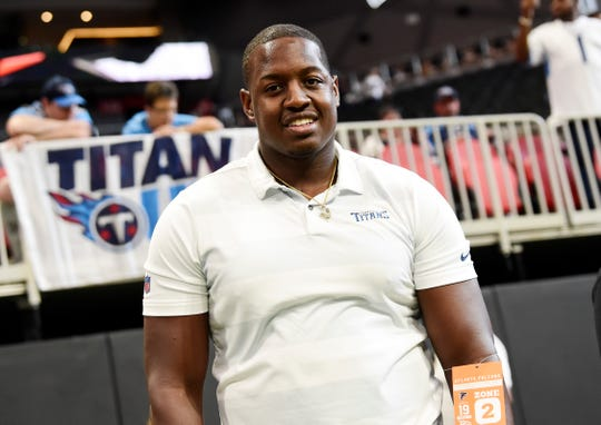 Tennessee State's Christion Abercrombie attends the Titans-Falcons game Sunday at Mercedes-Benz Stadium.