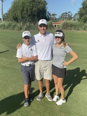 Naples' Braden Miller, Kody Horton and Eliza Kodak, from left, competed in the Drive, Chip and Putt Regional at TPC Sawgrass in Ponte Vedra Beach on Saturday, Sept. 28, 2019.
