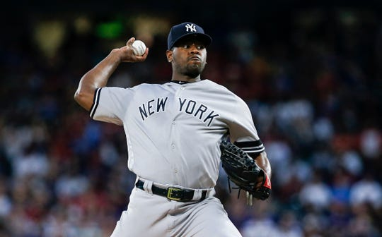 New York Yankees starting pitcher Luis Severino (40) throws during the first inning of a baseball game against the Texas Rangers, Saturday, Sept. 28, 2019, in Arlington, Texas.