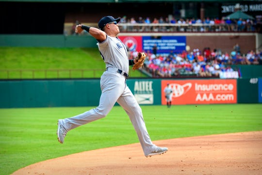 Sep 29, 2019; Arlington, TX, USA; New York Yankees third baseman Gio Urshela (29) throws out Texas Rangers third baseman Nick Solak (not pictured) during the second inning in the final home game at Globe Life Park in Arlington.