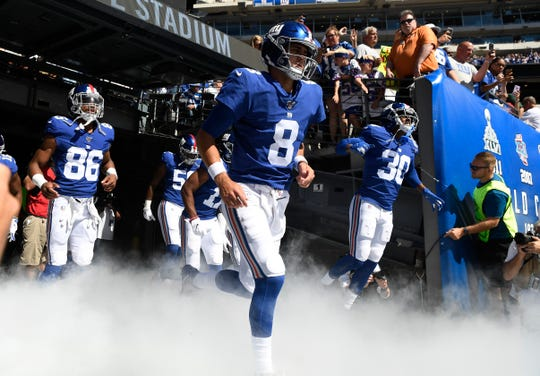 Daniel Jones (8) and the New York Giants enter the field to face the Washington Redskins in NFL Week 4 on Sunday, Sept. 29, 2019, in East Rutherford.