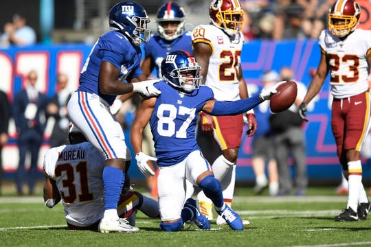 New York Giants wide receiver Sterling Shepard (87) celebrates a first down against the Washington Redskins. The Giants defeat the Redskins, 24-3, in NFL Week 4 on Sunday, Sept. 29, 2019, in East Rutherford.