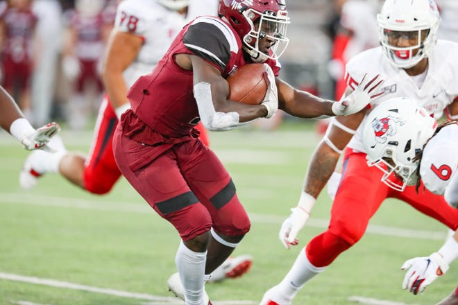 The New Mexico State University Aggies face off against the Fresno State Bulldogs at Aggie Memorial Stadium in Las Cruces on Saturday, Sept. 28, 2019.