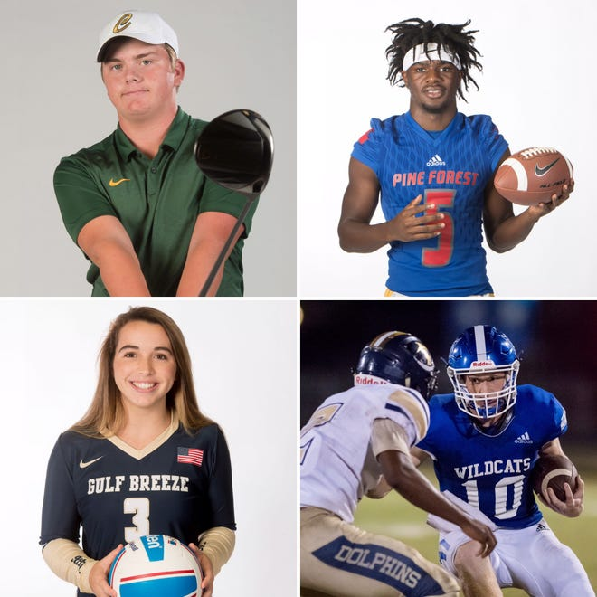 Catholic golfer Justin Burroughs (top left), Pine Forest defensive back Dacarrion McWilliams (top right), Gulf Breeze volleyball's Tara Bass (bottom left) and Washington quarterback Robert Sherlock (bottom right) are among the latest nominees for PNJ Athlete of the Week.