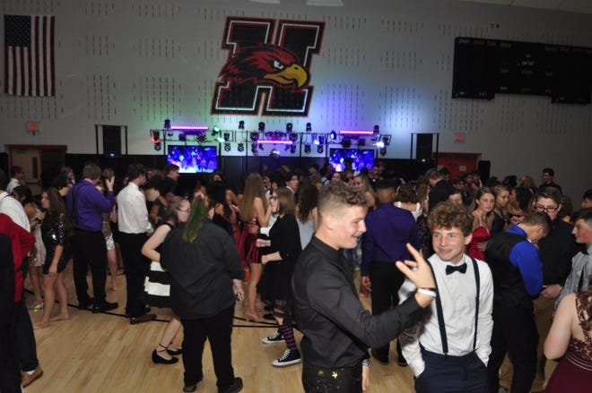 Students celebrate at the Hanover High School Homecoming Dance Saturday, Sept. 28, 2019. Bil Bowden photo