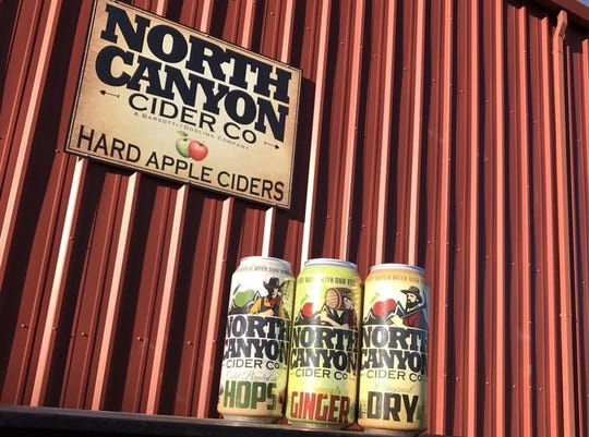 North Canyon Cider Co. produces four hard ciders, with three shown here.
