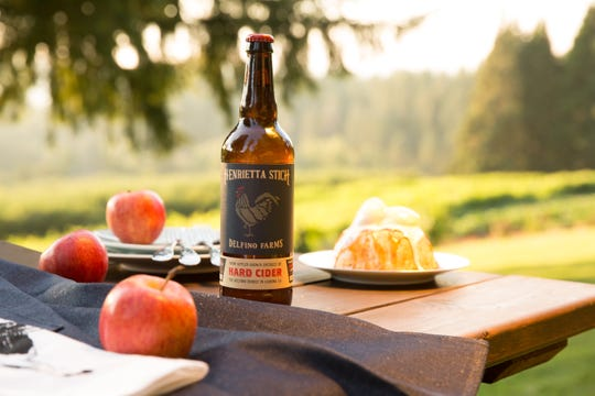 Henrietta Stich hard cider from Delfino Farms is named for the mother of Joan Delfino, who founded the farm with her husband.