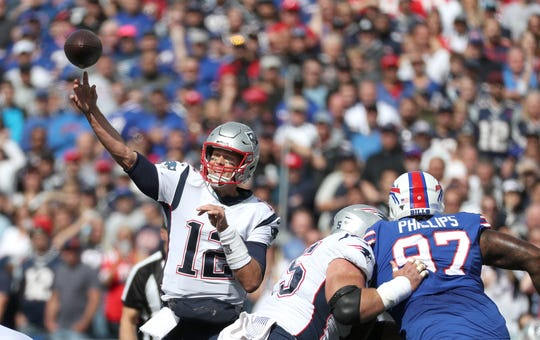 Patriots quarterback Tom Brady throws over the middle during a 16-10 win over the Bills on Sept. 29.