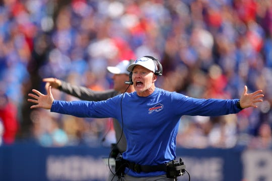 BUFFALO, NEW YORK - SEPTEMBER 29: Head coach Sean McDermott of the Buffalo Bills looks on against the New England Patriots during the second quarter in the game at New Era Field on September 29, 2019 in Buffalo, New York. (Photo by Brett Carlsen/Getty Images)