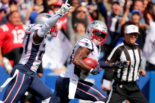 BUFFALO, NEW YORK - SEPTEMBER 29: Matthew Slater #18 of the New England Patriots reacts after recovering a blocked punt to score a touchdown against the Buffalo Bills during the first quarter in the game at New Era Field on September 29, 2019 in Buffalo, New York. (Photo by Brett Carlsen/Getty Images)