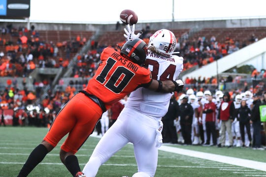 Sep 28, 2019; Corvallis, OR, USA;  Stanford Cardinal tight end Colby Parkinson (84) makes a catch for a touchdown against Oregon State Beavers defensive back Omar Hicks-Onu (10) in the first half at Reser Stadium. Mandatory Credit: Jaime Valdez-USA TODAY Sports