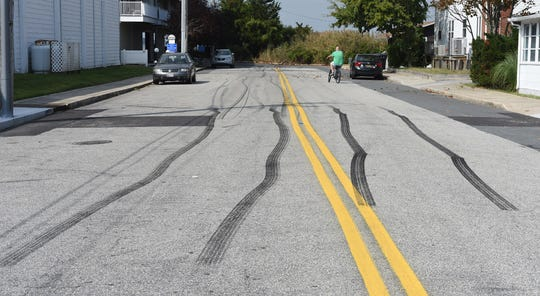 Burnout marks line 72nd street at the unofficial H2Oi event in Ocean City Sunday, September 29, 2019.