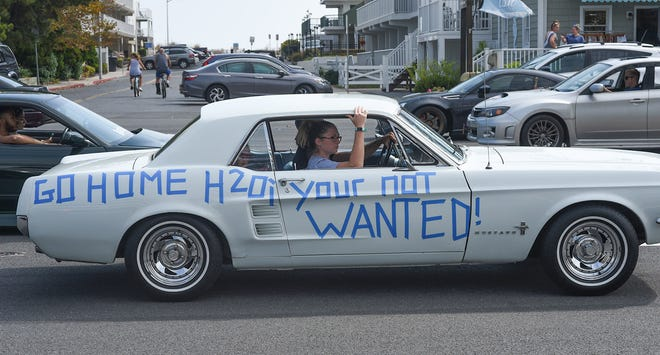 A classic car voices their opinion about H2Oi at the unofficial H2Oi event in Ocean City Sunday, September 29, 2019.
