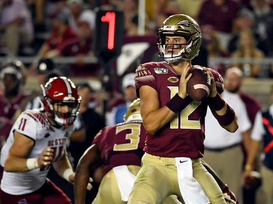Sep 28, 2019; Tallahassee, FL, USA; Florida State Seminoles quarterback Alex Hornibrook (12) looks to throw during the first half against the North Carolina State Wolfpack at Doak Campbell Stadium. Mandatory Credit: Melina Myers-USA TODAY Sports