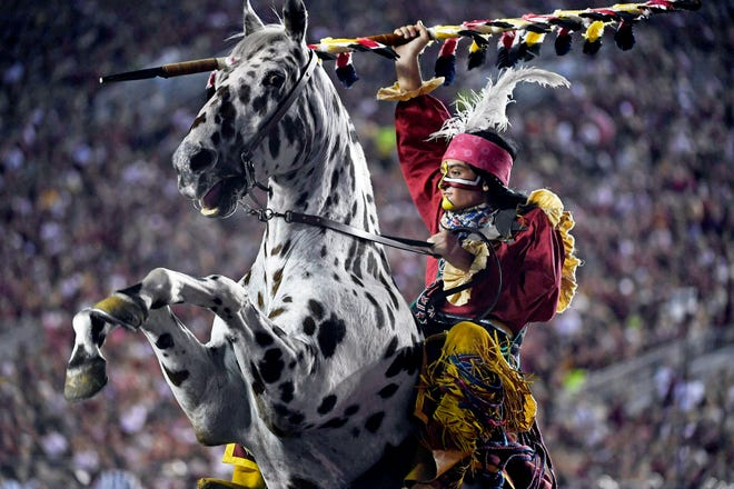 Sep 28, 2019; Tallahassee, FL, USA; Florida State Seminoles symbols Osceola and Renegade during the game against the North Carolina State Wolfpack  at Doak Campbell Stadium.