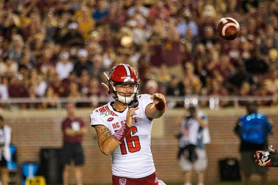 North Carolina State quarterback Bailey Hockman (16) throws against Florida State in the first half of an NCAA college football game in Tallahassee last month. Florida State won 31-13.