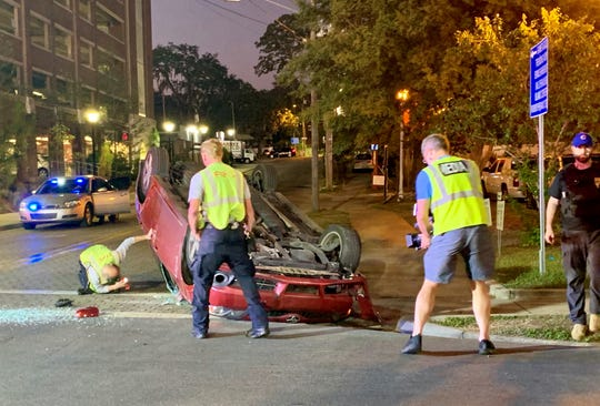 TFD and EMS responded to a rollover crash involving two cars tonight at St. Augustine and Walker streets.