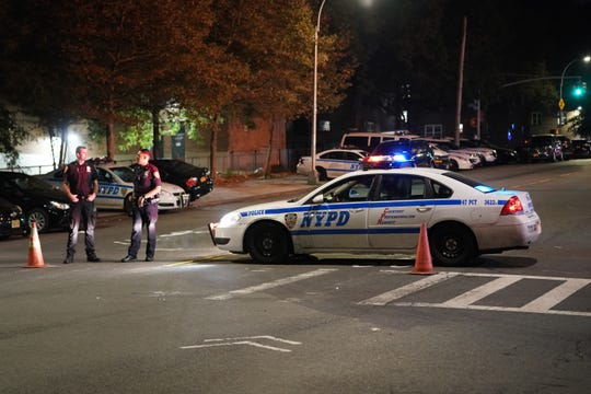 The scene where a police officer and suspect were fatally shot on E. 229th Street near Laconia Avenue in the Bronx, NY around 12:30 a.m. on September 29, 2019.