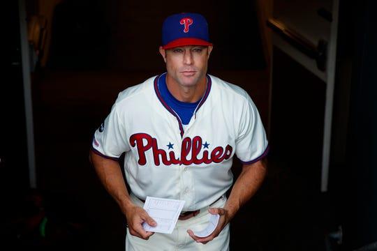 Philadelphia Phillies manager Gabe Kapler walks to the dugout before a baseball game against the Miami Marlins, Sunday, Sept. 29, 2019, in Philadelphia.