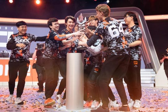 Sep 29, 2019; Philadelphia, PA, USA; The San Francisco Shock celebrate their victory in the 2019 Overwatch League Grand Finals e-sports championship against the Vancouver Titans at Wells Fargo Center.