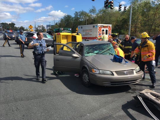 Del. 7 at the Delaware Park entrance was closed down late Sunday morning after a serious crash, State Police said in a tweet.
