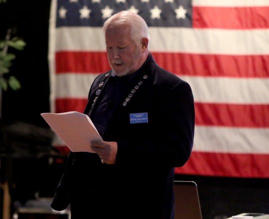 Steve Halloway gives an introduction at Base Camp Lindsey's Inaugural Campaign Kickoff Dinner Saturday, Sept. 28, 2019, at the Elks Lodge.