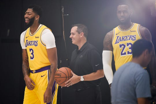 Anthony Davis, Frank Vogel and LeBron James at Lakers media day.