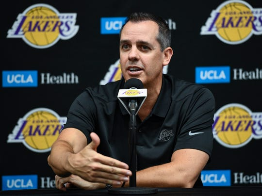 Lakers head coach Frank Vogel answers a question during Friday's media day.
