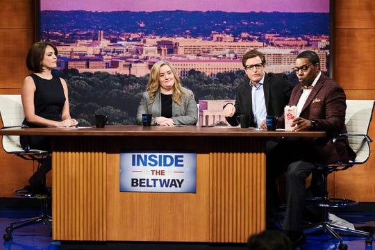 """Cecily Strong, from left, as Connie Brasheres, Aidy Bryant as Denise Craw, host Woody Harrelson as Walter Dale, and Kenan Thompson as Quincy Maddox during SNL's """"Inside The Beltway"""" sketch on Sept. 28, 2019."""