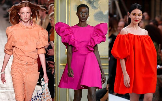 Models present creations during Paris Fashion Week at shows for (from left to right) Isabel Marant, Christian Siriano and L'Oreal.