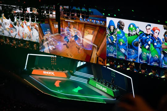 General view of game play during the Overwatch League Grand Finals e-sports event between the Vancouver Titans and San Francisco Shock at Wells Fargo Center.