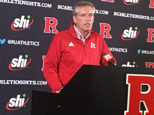 Rutgers athletic director Pat Hobbs speaks at a press conference on Monday, Sept. 30, 2019, one day after firing head football coach Chris Ash.