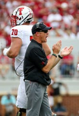 Sep 28, 2019; Norman, OK, USA;  Texas Tech Red Raiders head coach Matt Wells reacts during the second half against the Oklahoma Sooners at Gaylord Family - Oklahoma Memorial Stadium. Mandatory Credit: Kevin Jairaj-USA TODAY Sports