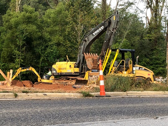 Construction of a new Quality Oil gas station on Hendersonville Road near Heywood Road was moving ahead full steam last week.