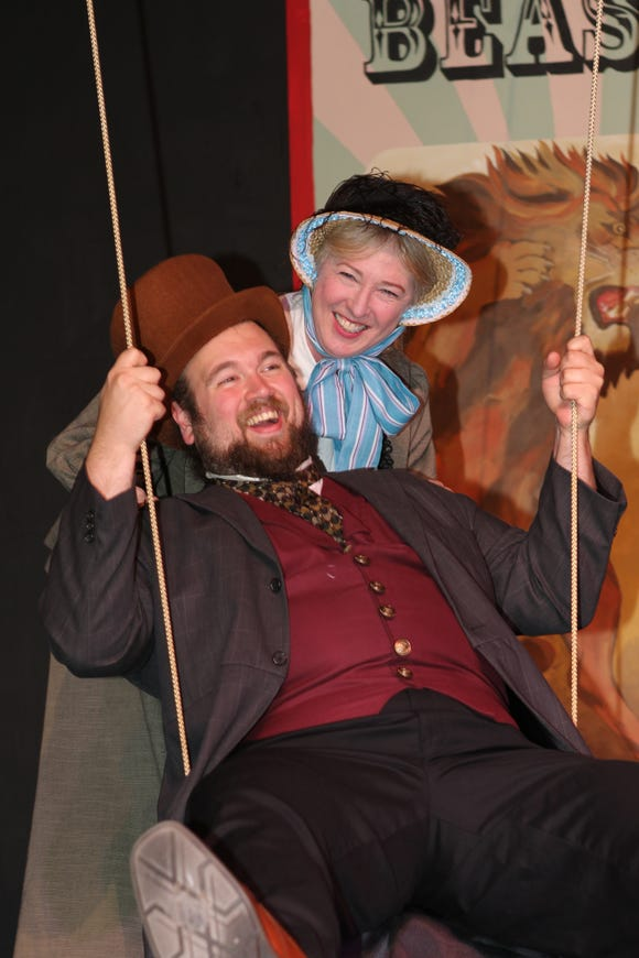 """Hank Hayden and Barbi-Jo Smith play P.T. Barnum and his wife, Charity, in Port Gamble Theater's musical """"Barnum."""""""