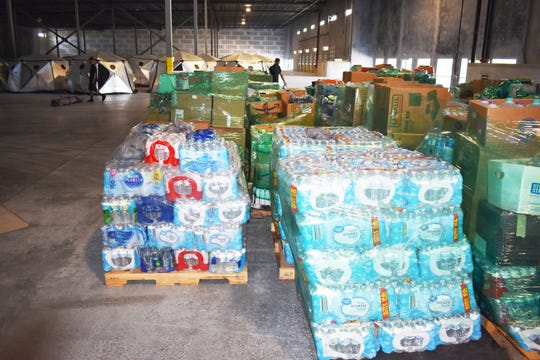 These are among the Hurricane Dorian relief supplies destined for the Bahamas that are being temporarily stored at the Port Canaveral Logistics Center in Titusvillle.