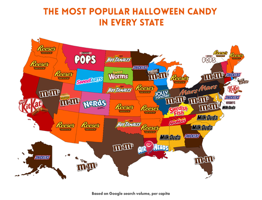 These are the most popular Halloween candies in each state