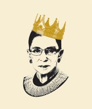 Notorious RBG book cover illustration by Adam Johnson.