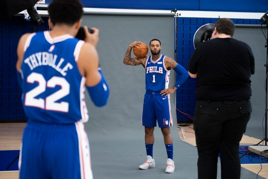 Sixers' Mike Scott is photographed on media day Monday, Sept. 30, 2019 at the 76ers Practice Facility in Camden, N.J.