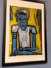 Artist Brad Spence created this painting of the late Anthony Bourdain.