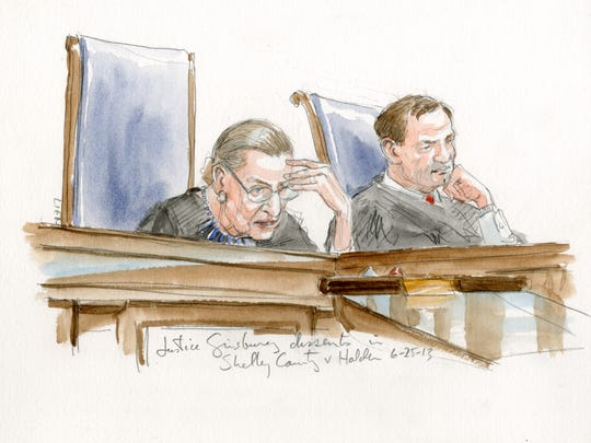Courtroom sketch of Justice Ginsburg's dissent in Shelby County v. Holder, June 25, 2013. Sketch by Art Lien.