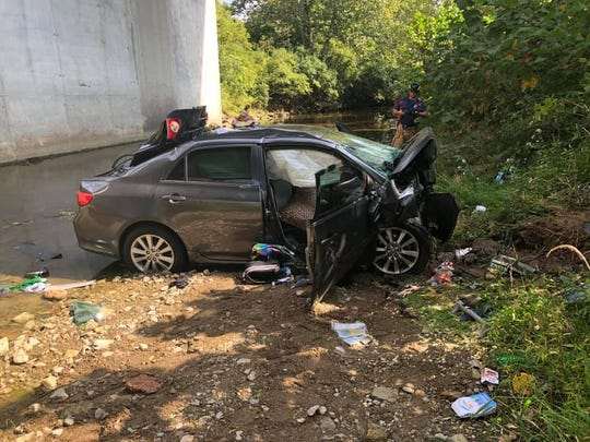 A car fell off I-71 at the Turtlecreek Road overpass in Union Township on Sunday.