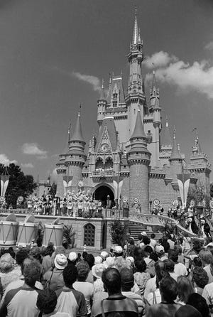 A crowd waits for Disney World's Main Street to open on Oct. 2, 1971.