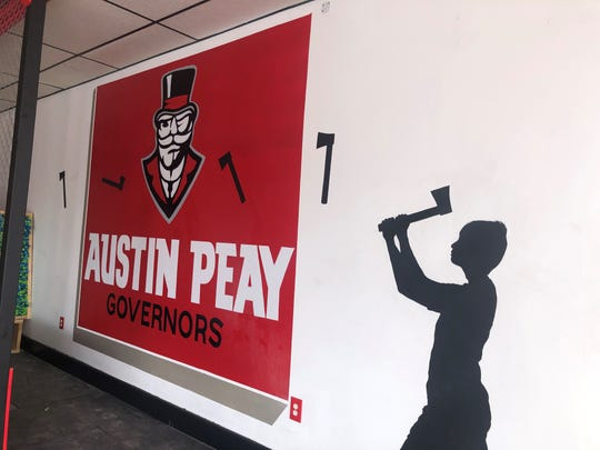 Shadow painting of a child throwing an ax in the kids lane at Red Axe Throwing Company, Sept. 27, 2019