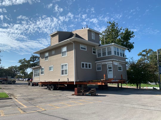 One of the Drake neighborhood houses ready to be moved to its new foundation in Sherman Hill.