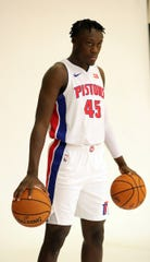 Detroit Pistons forward Sekou Doumbouya poses during media day Monday, September 30, 2019 at the Pistons practice facility in Auburn Hills, Mich.