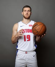 Detroit Pistons forward Svi Mykhailiuk poses during media day Monday, September 30, 2019 at the Pistons practice facility in Auburn Hills, Mich.