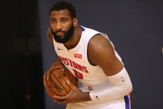 Detroit Pistons center Andre Drummond poses during media day Monday, September 30, 2019 at the Pistons practice facility in Auburn Hills, Mich.